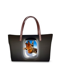 Giraffe in the Plane Pattern 3D Printed for Women Girls Shoulder HandBags