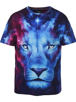 Galaxy Lion Face Plus Size Cool Short Sleeve Round Neck 3D Painted T-Shirt