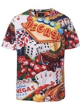 Las Vegas Gambling Poker Plus Size Short Sleeve Round Neck 3D Painted T-Shirt