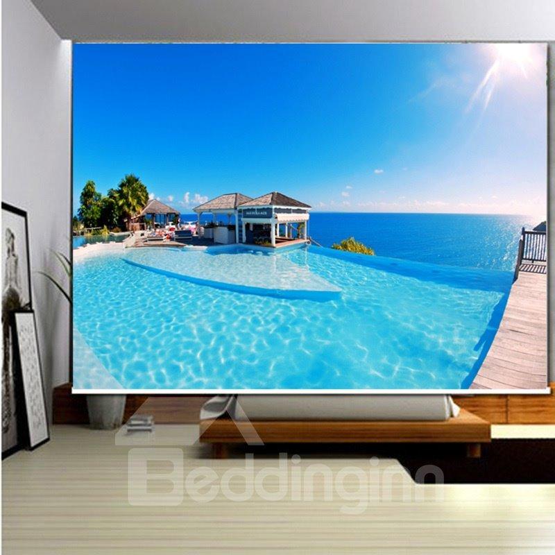 3D Printed Ocean Beach Seaside House Oceanic Style Decor of Room Roller Shades