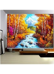 3D Flowing River with Stones and Trees Printed Blackout Roller Shades