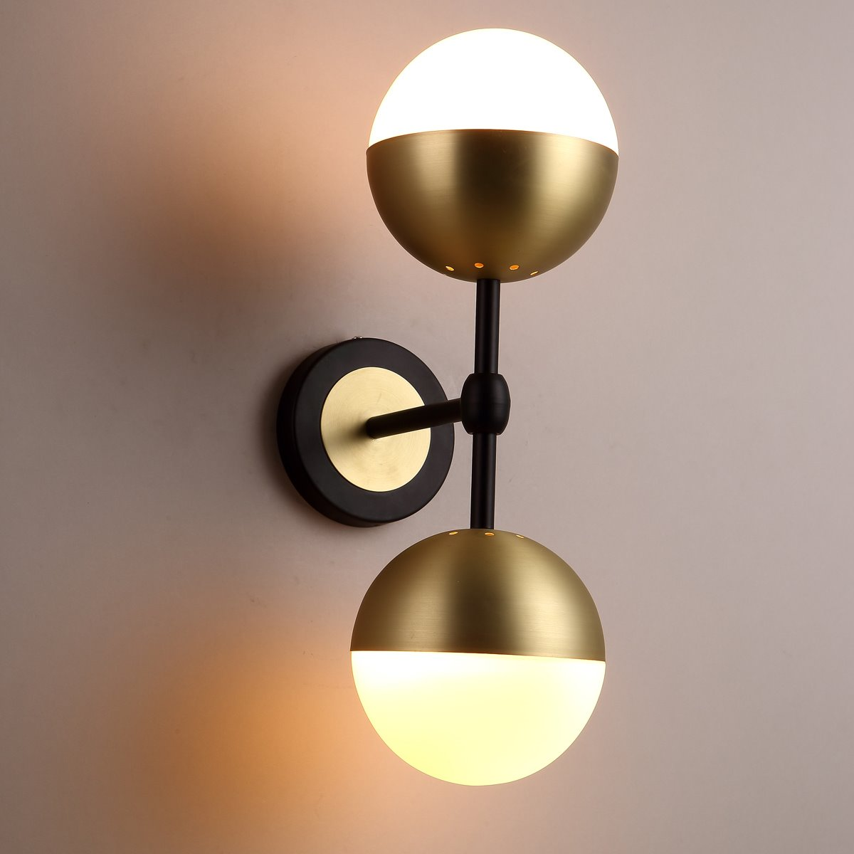 Two Glass Balls with Golden Hardware Wall Light