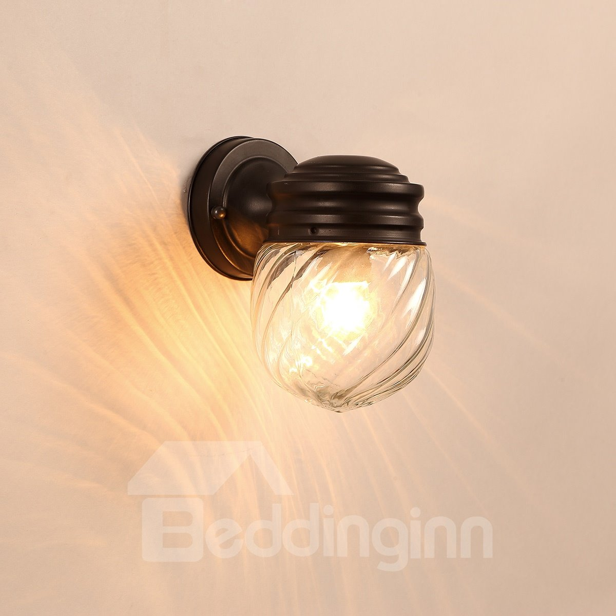 Black Base 1 Round Bulb with Spirals Plastic and Glass Wall Light