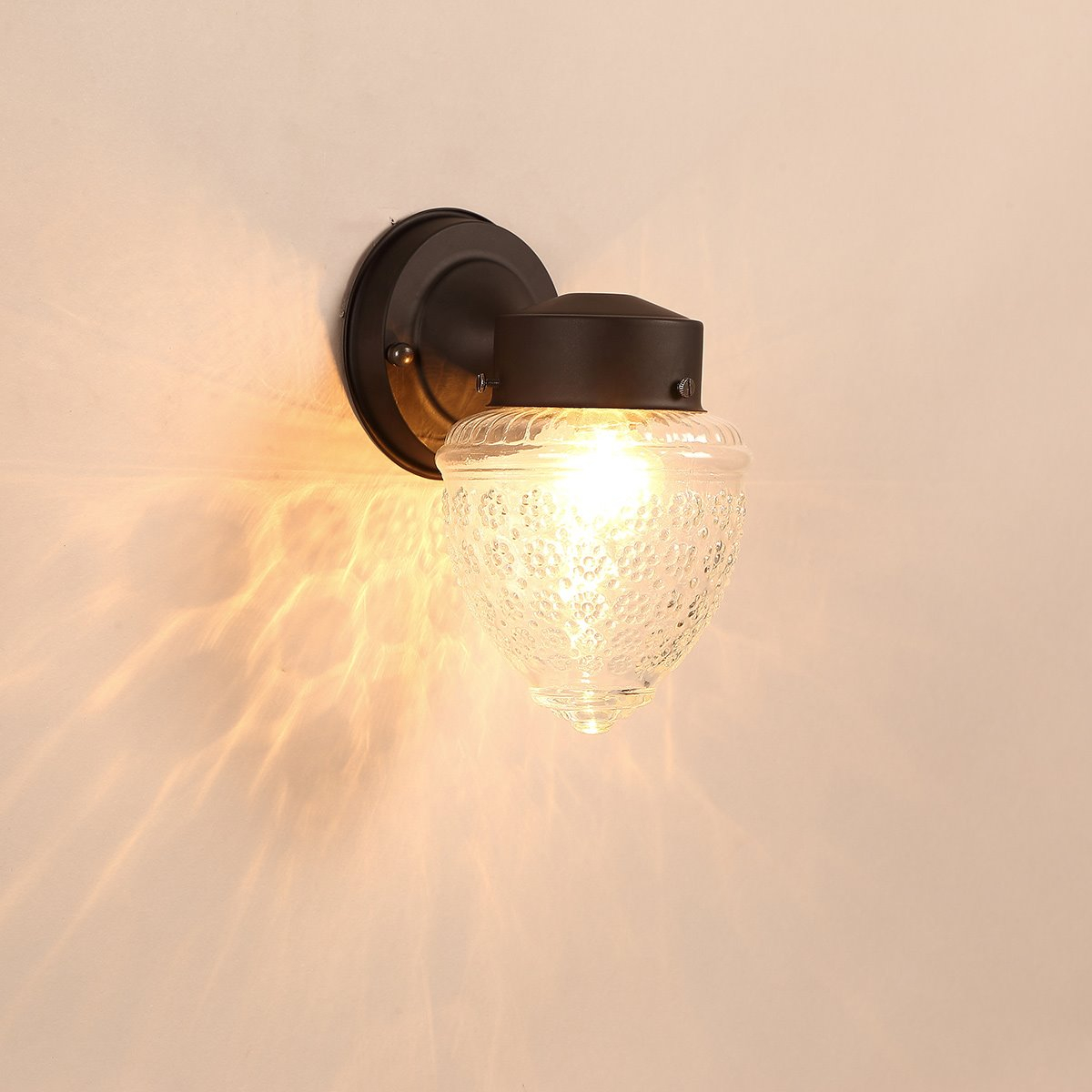 Black Base 1 Bulb with Dots Plastic and Glass Wall Light
