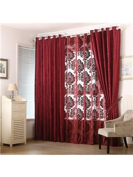 Blackout and Decoration Blending Jacquard Modern Damask Room Curtain