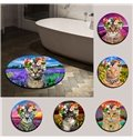Cat with Flowers and Flower Field Nonslip Round Area Rug