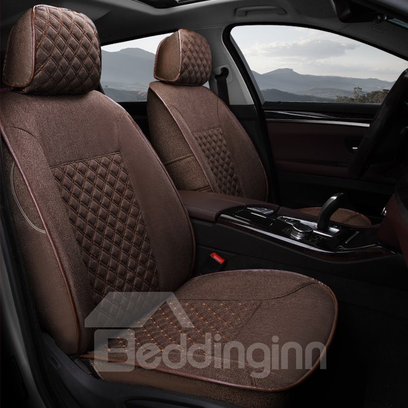 Casual Series Pure Color Soft And Comfy Diamond Grids Custom Fit Car Seat Covers