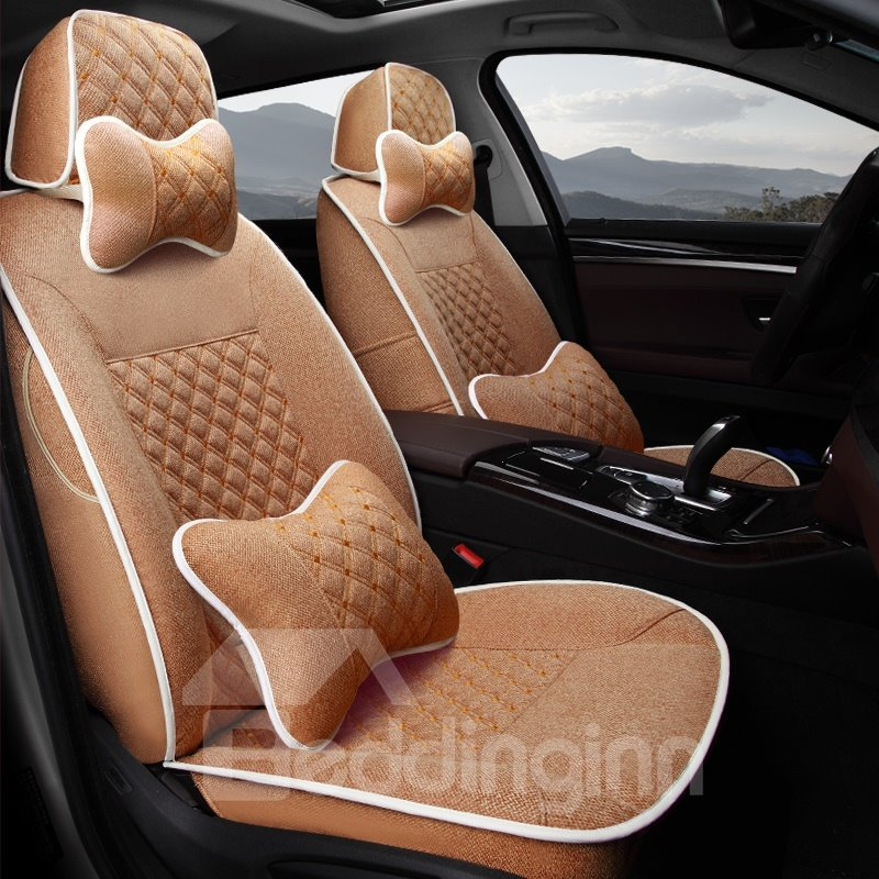 53 Casual Style Pure Color Soft And Comfy Diamond Patterns Custom Fit Car Seat Covers