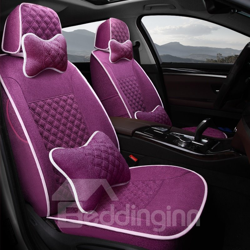 Casual Style Pure Color Soft And Comfy Diamond Patterns Custom Fit Car Seat Covers