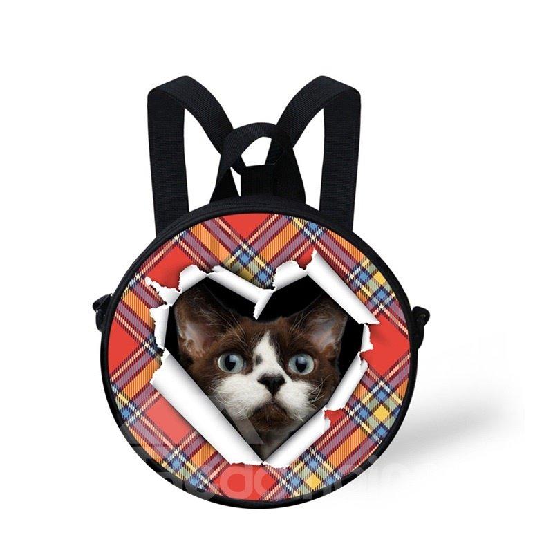 Round 3D Black Cat Pattern School Bag Shoulders Backpack