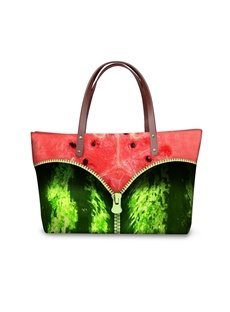 Zipper in Watermelon Waterproof Sturdy 3D Printed for Women Girls Shoulder HandBags