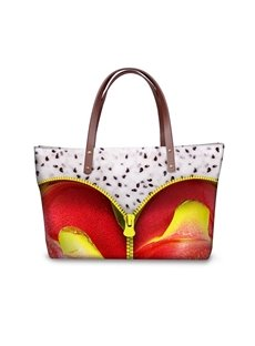 Dragon Fruit with Zipper Waterproof Sturdy 3D Printed for Women Girls Shoulder HandBags