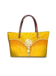 Waterproof Orange Zipper Pattern 3D Printed Shoulder HandBags