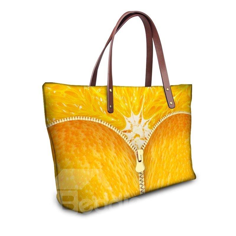 Waterproof Orange Zipper Pattern 3D Printed Shoulder HandBags