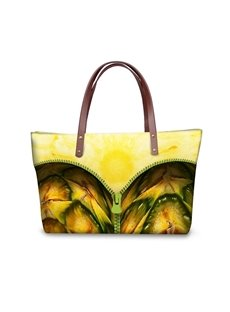 Pineapple with Zipper Waterproof Sturdy 3D Printed for Women Girls Shoulder HandBags