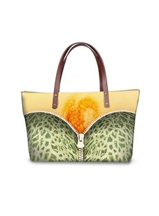 Cantaloupe with Zipper Waterproof Sturdy 3D Printed for Women Girls Shoulder HandBags