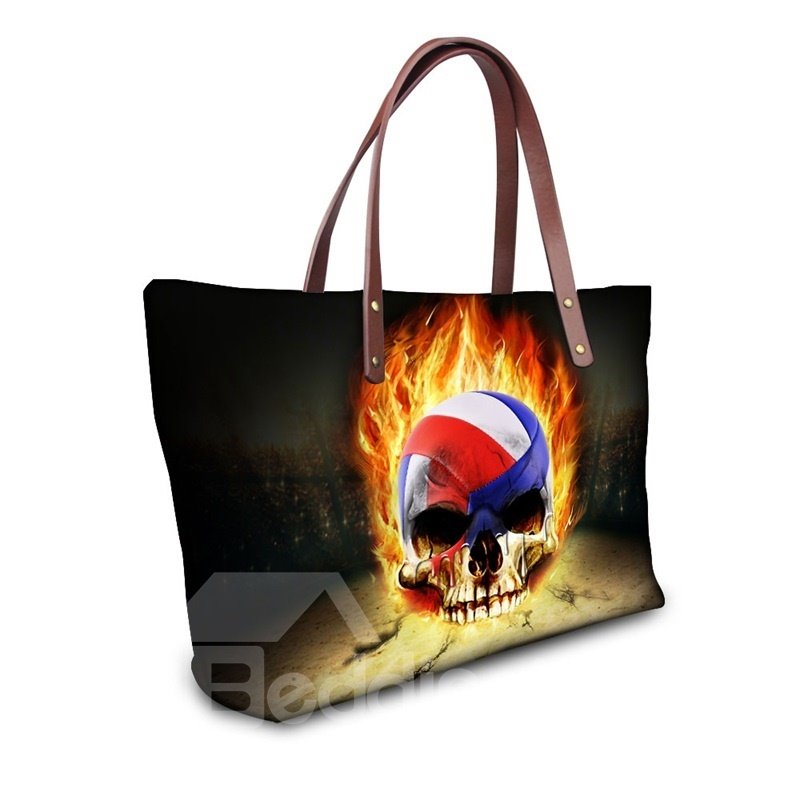 Football Skull Fire Waterproof Shoulder 3D Printed HandBags