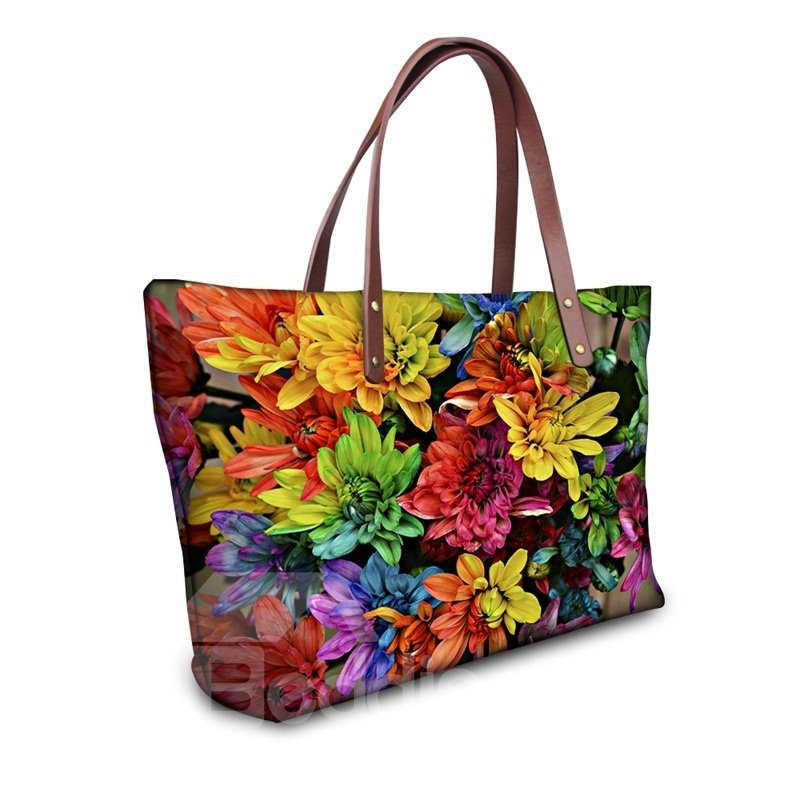 Waterproof Flower Floral Pattern Printed Shoulder HandBags