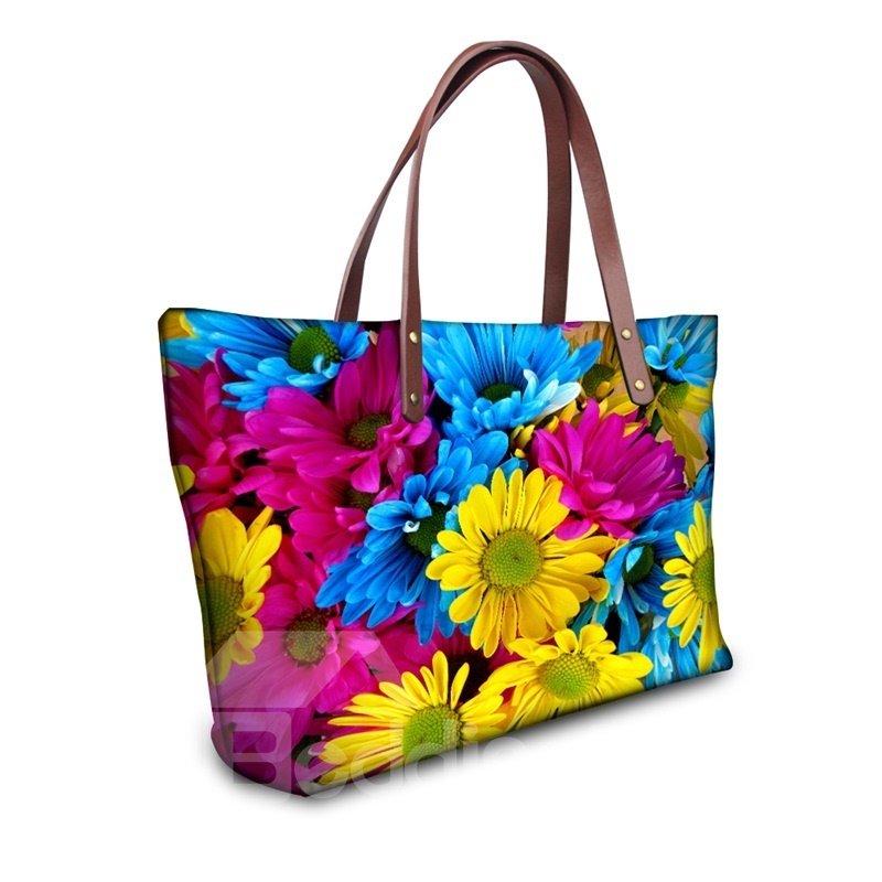 Daisy Waterproof Floral Pattern Printed Shoulder HandBags