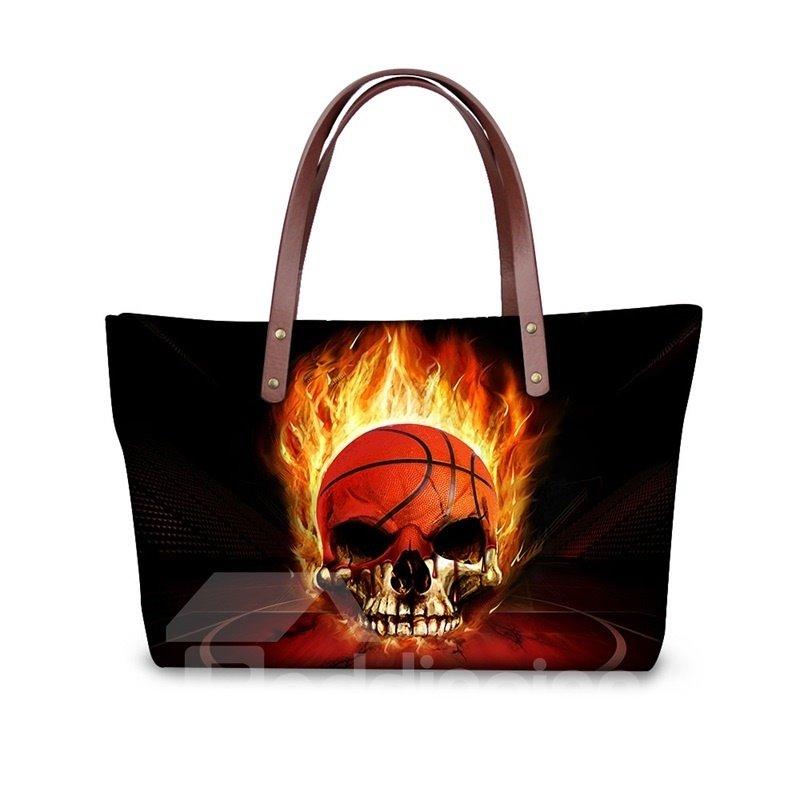 Skull Basketball Fire Waterproof Pattern Printed Shoulder HandBags
