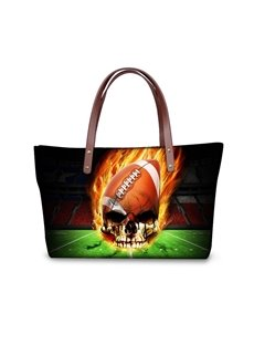 Football Skull Fire Waterproof 3D Printed Shoulder Handbag