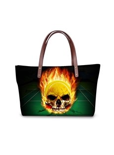 Ball with Skull Fire Waterproof 3D Printed Shoulder Handbag