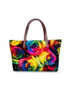 Floral Pattern Waterproof 3D Printed Shoulder Handbag