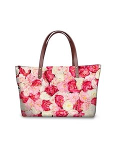 Warmth Floral Carnations Waterproof Sturdy 3D Printed for Women Girls Shoulder HandBags