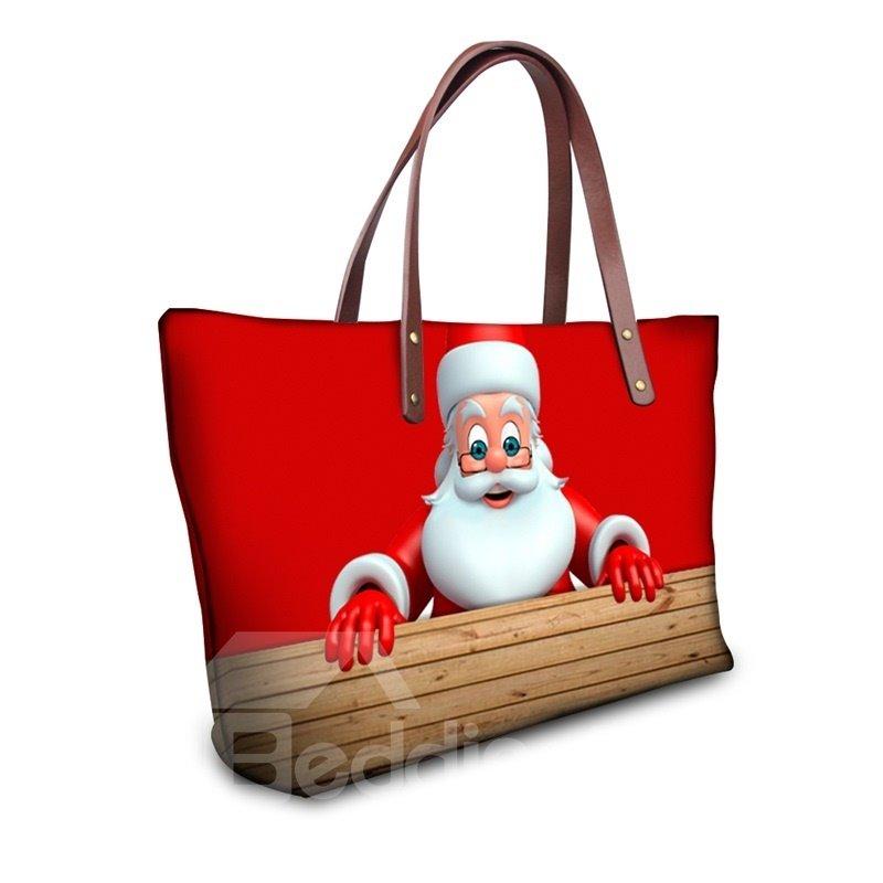 Santa Claus Adorable Pattern Waterproof Sturdy 3D Printed Shoulder HandBags