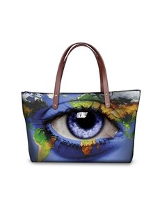 Earth Eye Pattern Waterproof Sturdy 3D Printed for Women Girls Shoulder HandBags
