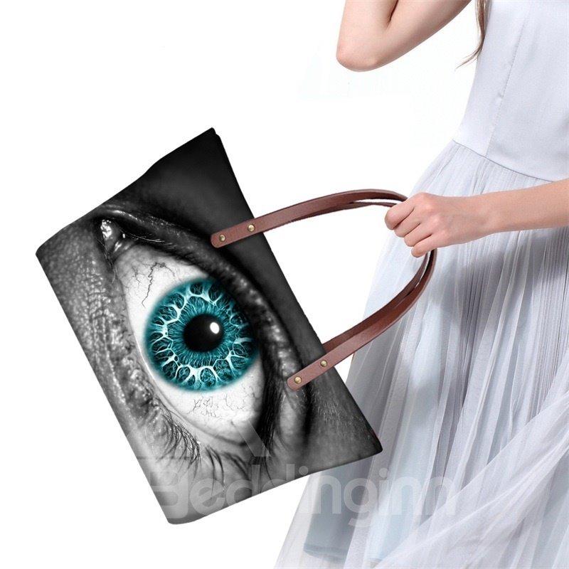 Green Charming Eye Waterproof Sturdy 3D Printed for Women Girls Shoulder HandBags