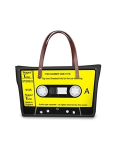 Yellow Radio Tape Waterproof Sturdy 3D Printed for Women Girls Shoulder HandBags