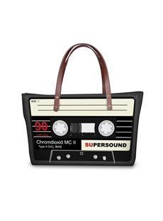Retro Radio Tape Waterproof Sturdy 3D Printed for Women Girls Shoulder HandBags