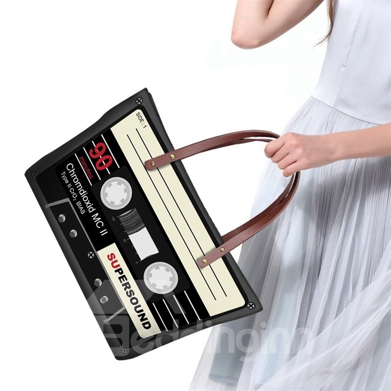 Retro Radio Tape Waterproof Sturdy 3D Printed for Women Girls Shoulder HandBags
