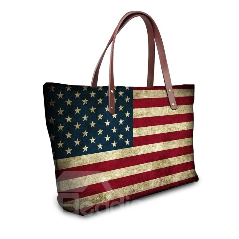 US Flag Pattern Waterproof Sturdy 3D Printed for Women Girls Shoulder HandBags
