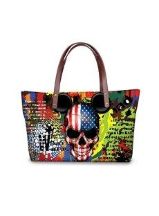 American Flag Skull Pattern Waterproof 3D Printed Shoulder Handbag