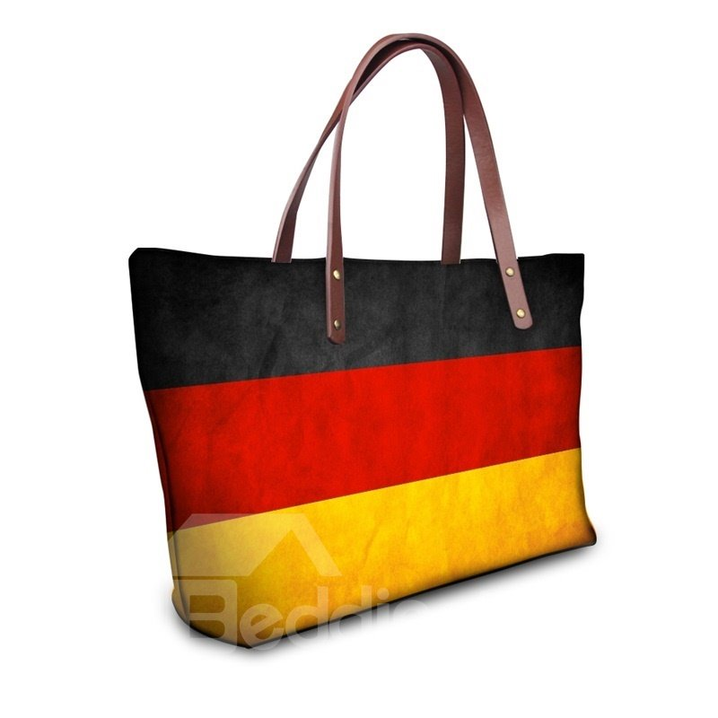 Germany Flag Pattern Waterproof Sturdy 3D Printed Shoulder HandBags