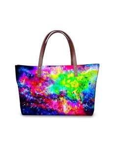 Universal Scenery Galaxy Colorful Waterproof Sturdy 3D Printed for Women Girls Shoulder HandBags