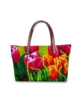 Tulip Floral Flowering Pattern Waterproof Sturdy 3D Printed Shoulder HandBags