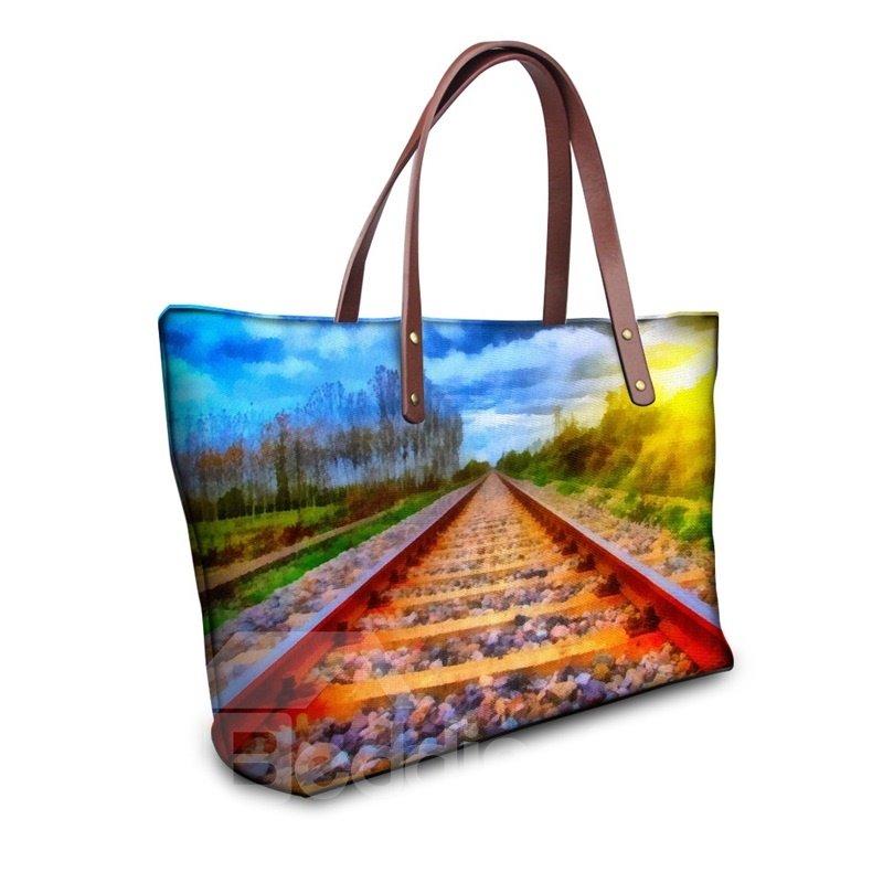 Beautiful Scenery Railway Sun Waterproof Sturdy 3D Printed for Women Girls Shoulder HandBags
