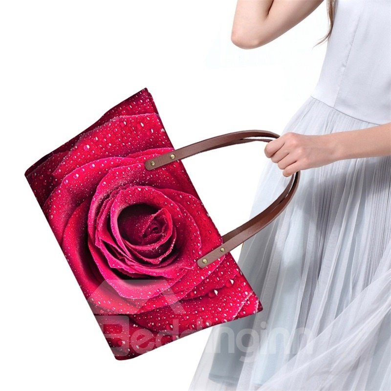 Red Rose Gorgeous Floral Waterproof Sturdy 3D Printed for Women Girls Shoulder HandBags