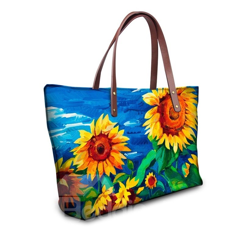 Sunflower Floral Painting Pattern Waterproof Sturdy 3D Printed for Women Girls Shoulder HandBags