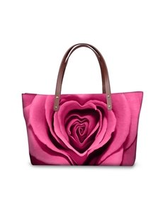 Pink Rose Flowering Waterproof Sturdy 3D Printed for Women Girls Shoulder HandBags