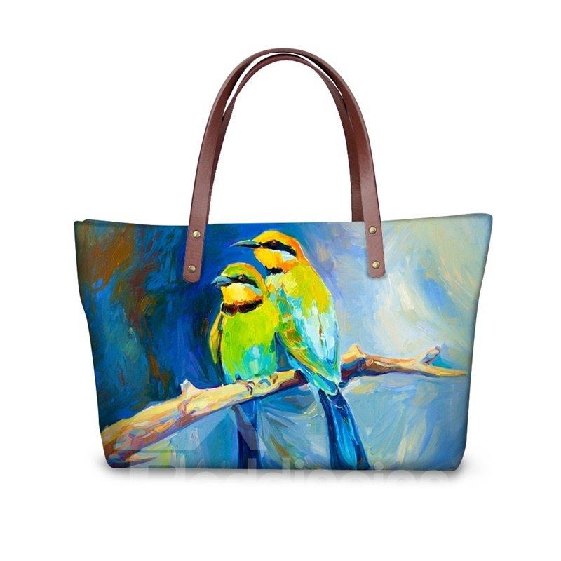 Painting Couple Birds Waterproof Sturdy 3D Printed for Women Girls Shoulder HandBags