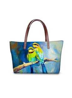Painting Couple Birds Waterproof Sturdy 3D Printed for Women Girls Shoulder HandBags