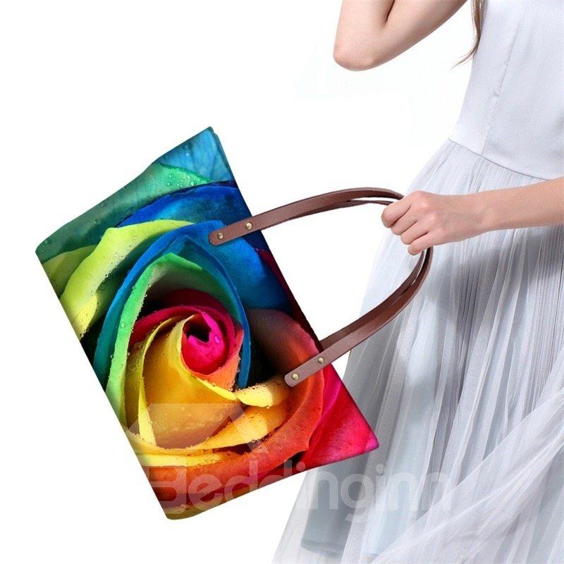 Colorful Rose Flowering Personality Waterproof Sturdy 3D Printed for Women Girls Shoulder HandBags