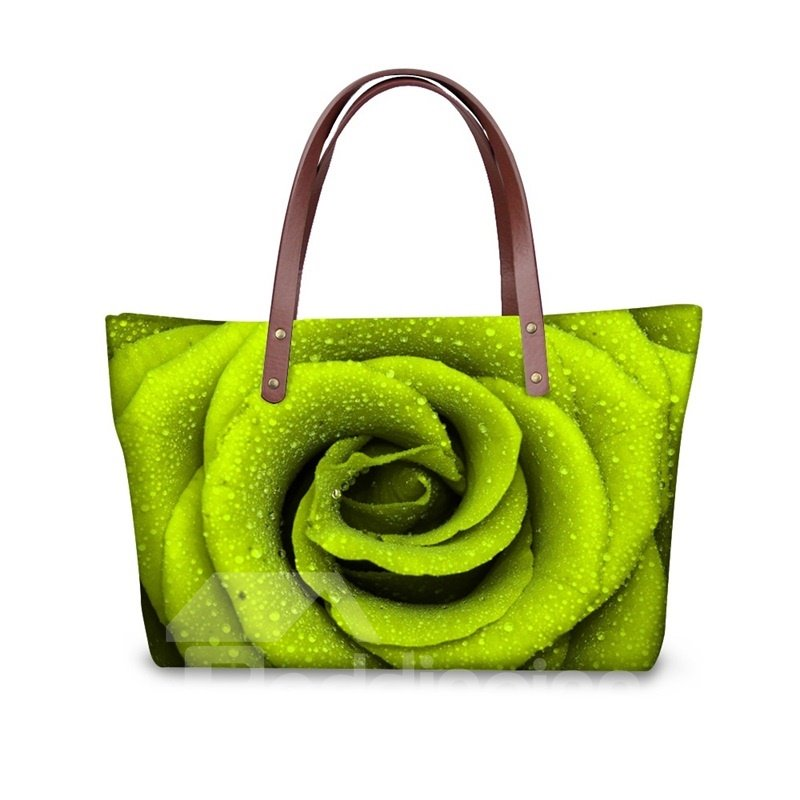 Green Rose Pattern Waterproof Sturdy 3D Printed for Women Girls Shoulder HandBags