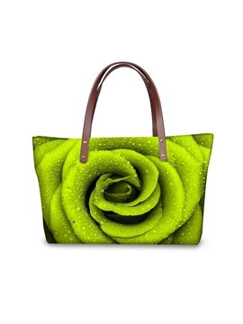 Green Rose Pattern Waterproof Sturdy 3D Printed for Women Girls Shoulder HandBags