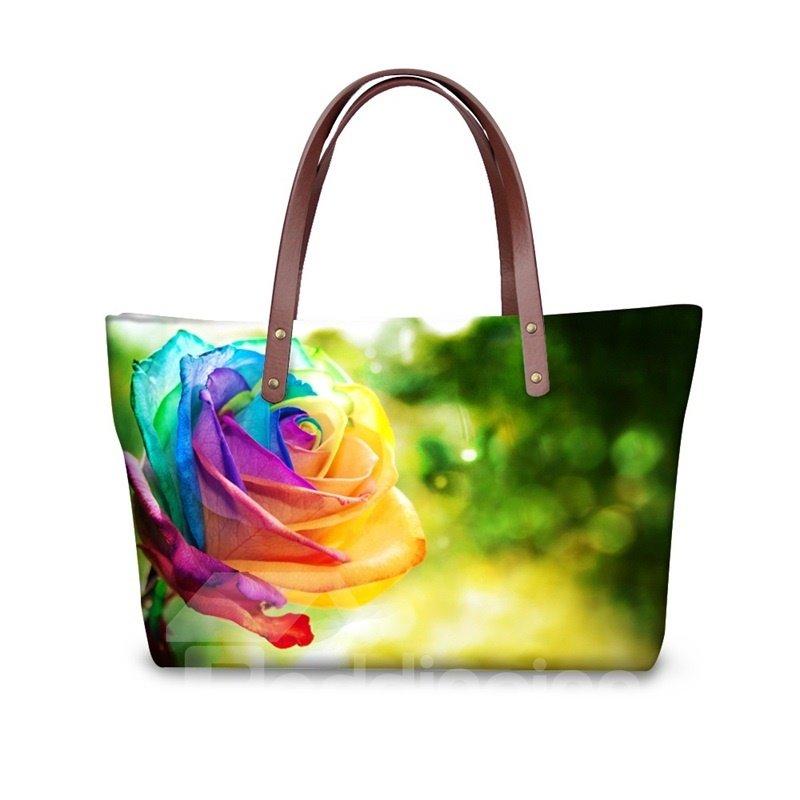 Rainbow Color Rose Waterproof Sturdy 3D Printed for Women Girls Shoulder HandBags