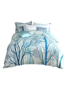 Designer Trees and Branches Painting Pastoral Blue Cotton 4-Piece Bedding Sets
